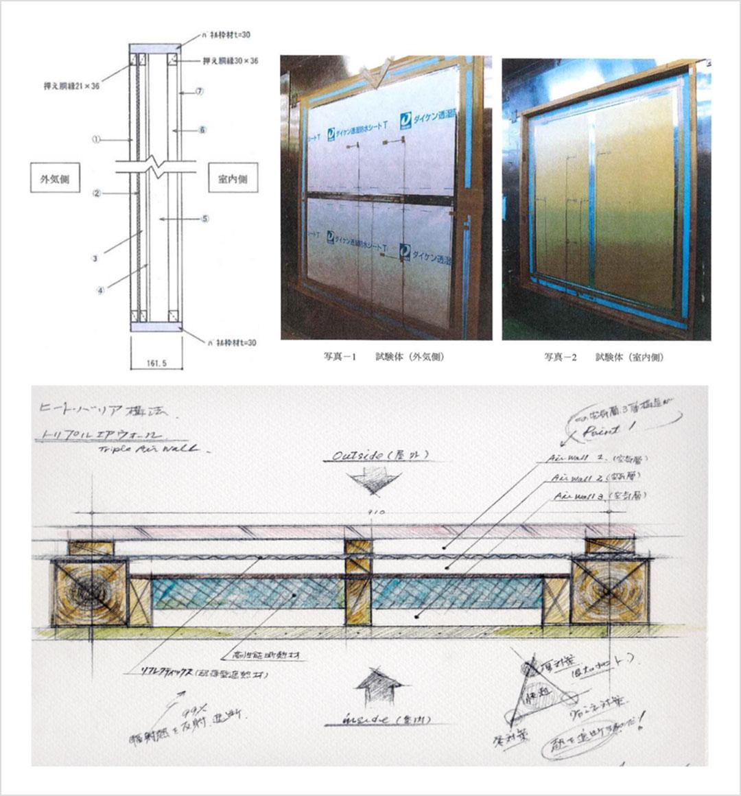 「3層の空気」ヒートテック構法はトリプルエアウォール®採用(クリックで拡大)