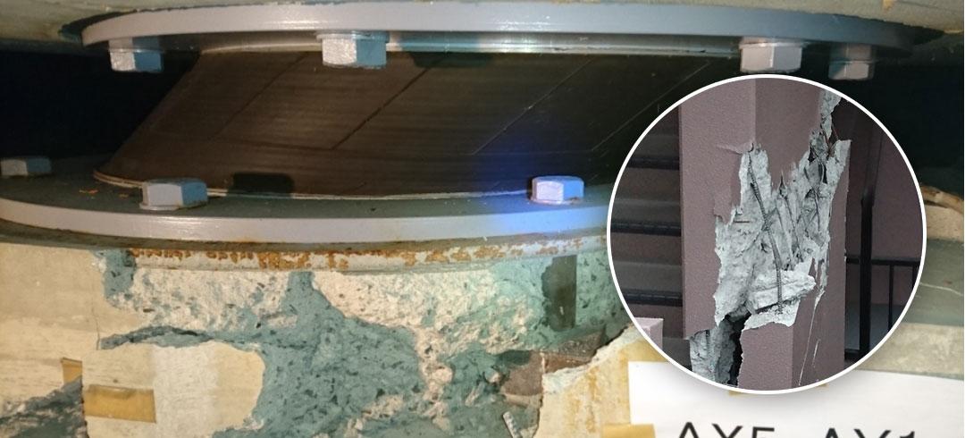 大きな揺れにより架台が破壊・復元せず変位した状態と避難階段の耐力壁破断「免震ダンパーの変位」「耐力壁の破断」大きな地震時には想定以上の揺れにより、免震建築物でも損傷を受けるという事例c